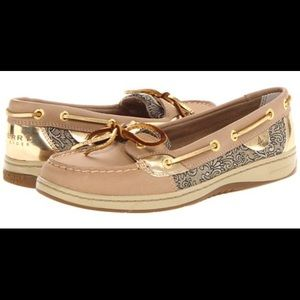 Sperry AngelFish boat shoe with gold damask design